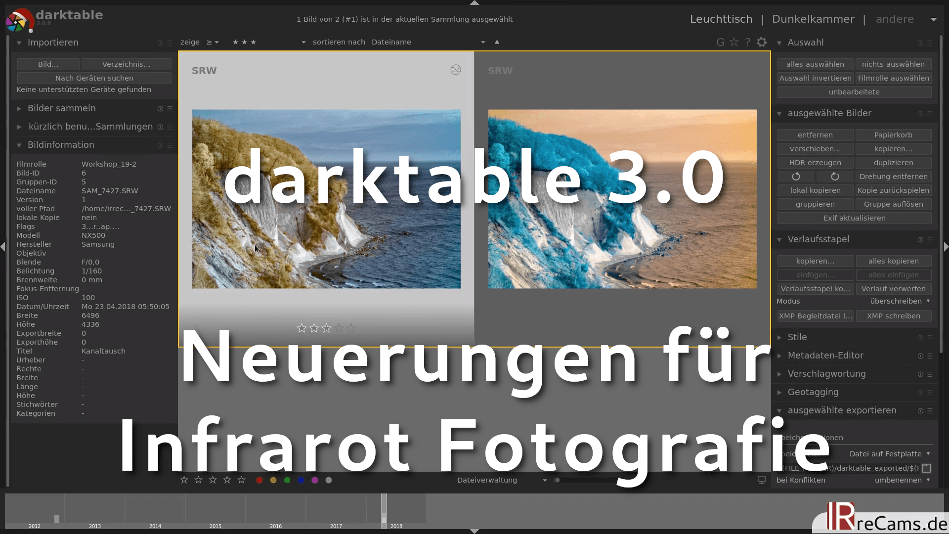 Infrarot Bildbearbeitung in darktable 3.0